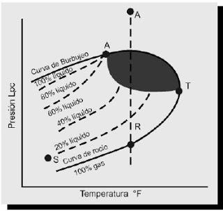 Diagrama de fases para un reservorios de gas y condensado