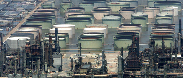 The Shell Oil refinery appears shut down